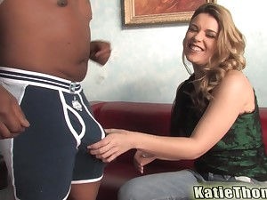Teen blonde babe Katie Thomas cums while pounded unconnected with a black guy
