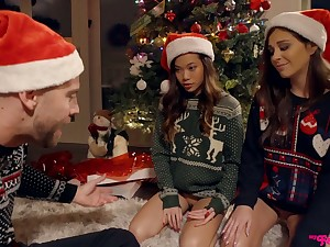 Two mouth watering girls are fucked hard by one dude further down make an issue of Xmas three