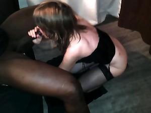 Black flannel whore interracial blowjob