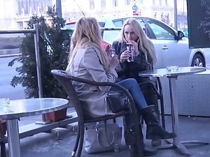 Two luscious Czech chicks are picked up and fucked hard by one randy dude