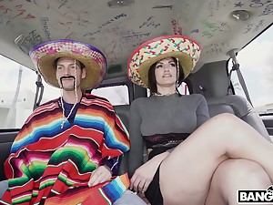 Horny bandeau in Mexican style with big breasted whorish Becky Bandini