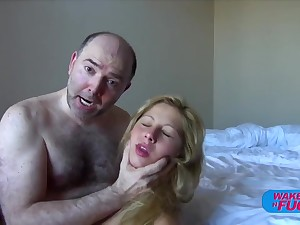Hairy old man fucks blonde haired girl take both holes