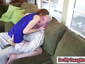 Redhead cutie sucks an older person and rides him like a nympho