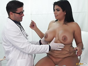 Buxom Latina seduced by her doctor into fucking and abrading cum