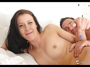 Compacted tit brunette takes Johnny's pecker in her booty