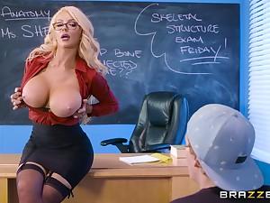 Frisky teacher Nicolette Shea rides student's big cock
