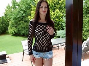 Slutty nextdoor chick Emily Ross shows off stretched creamy anus