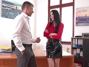 Lustful essayist Veronika masturbates pussy in the boss's office