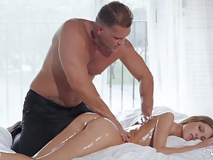 Muscular man wants this petite babe's wet little pussy and ass