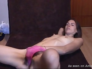 Svelte chick with small tits and hard nipples loves respecting pet her own pussy